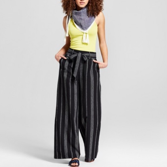 44c3d9ffa4bc a new day Pants - A New Day Striped Black Linen Wide Leg Pants
